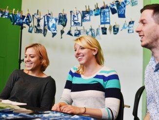 Ola Piatkowska, (left) Krista Filchner and Chris Setty, seniors at Tyler. sell their photography as regular prints or fabric prints. Jenny Kerrigan | TTN
