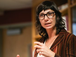 Assistant professor Alexa Firat lectures on the cultural impacts of graffiti in Middle Eastern countries. Andrew Thayer |TTN