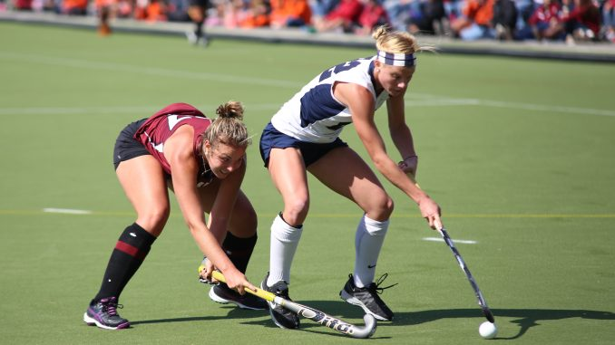 Redshirt-freshman defender Elle Hempt competes for the ball during the team's 2-0 loss to Penn State on Oct. 5. Hempt has started eight of the team's 21 games. Andrew Thayer   TTN