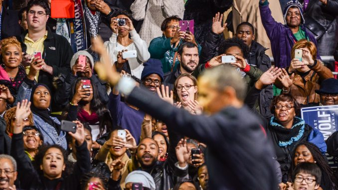 President Barack Obama waves to prospective voters at a rally for Tom Wolf on Sunday night at the Liacouras Center. Kara Milstein | TTN