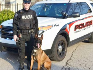 Police officer Doug Hotchkiss and Belgian Shepherd Retriever Baron who relieved officers searching for Eric Frein. | COURTESY TEMPLE POLICE