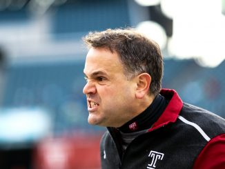 Coach Matt Rhule stands on the sideline during the Owls' 14-6 loss to Cincinnati last Saturday. Rhule's squad has dropped three straight games after starting the year 5-3. Hua Zong   TTN
