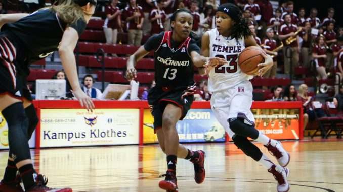 Senior guard Tyonna Williams drives to the basket during the Owls' 83-50 victory against Cincinnati. | Jenny Kerrigan TTN
