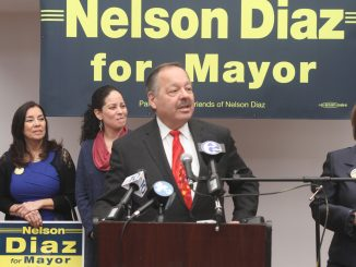 Mayoral candidate Nelson Diaz announced his candidacy on Jan. 15 at Tierra Colombiana, a popular place for the city's Latino politicians. Diaz said his primary focus is fixing the city's embattled school district. | COURTESY Ian Rivera, Nelson Diaz 2015