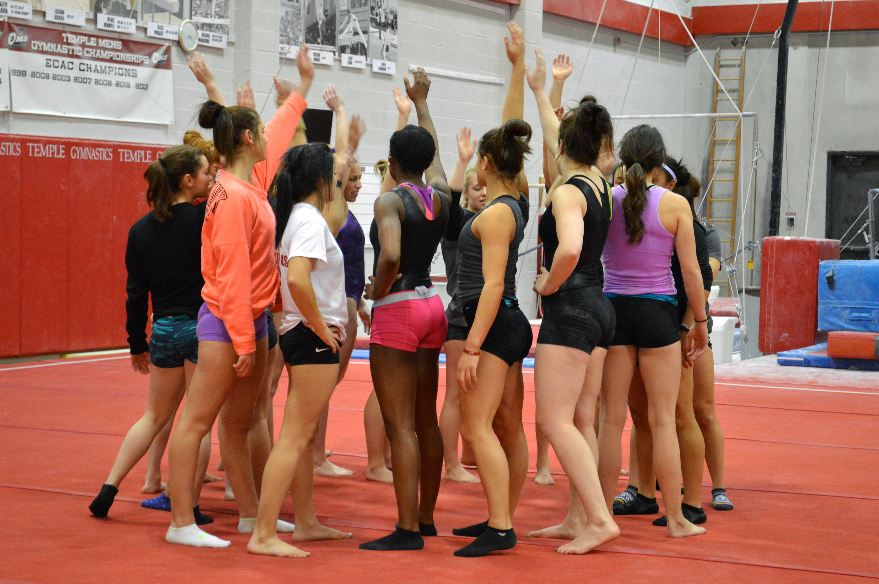 The women's gymnastics team convenes during a practice. The squad lost its  first meet against Eastern Michigan Jan. 9 with a time of 193.925. | Sash  Schaeffer TTN – The Temple News
