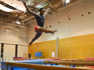 Sophomore all-around Briana Odom practices on the balance beam. | Sasj Schaeffer TTN