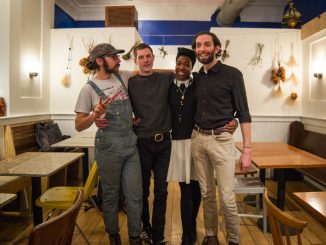 Co-owner Tony Montagnaro (left), co-owner Max Kochinke, employee Shatyra Jones, and co-owner Mike Dunican work at W/N W/N, a new cooperatively owned coffee bar on 931 Spring Garden Street, which opened in December. | Alex Friend TTN