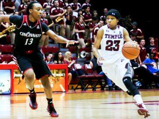 Senior guard Tyonna Williams drives to the basket against Cincinnati. | Jenny Kerrigan TTN