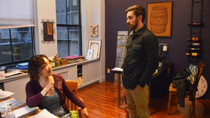 Tyler professor Soonduk Krebs and graphic designer Brendan McAuliffe converse in Krebs' studio. | Greg Frangipani TTN