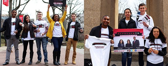 (LEFT): Tykee James (left), Binh Nguyen, Ryan Rinaldi, Brittany Boston and Tom Montalbano of Future TU canvass around Alumni Circle on Monday. (RIGHT): Tyler Sewell (left), Amber Navarro O'Brien, Christopher McFadden and Aaliyah Ahmad of RepresenTU campaign at the Bell Tower hours before the beginning of the two-day voting period, which ends Wednesday at 11:59 p.m. | Kara Milstein