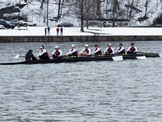Members of the rowing team race Saturday on the Schuylkill in their first competition of the spring season. | Donald Otto TTN