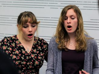 "Sophomore Holleigh Christie (left) and freshman Kristin Stidham rehearse Billy Joel's ""I've Loved These Days"" in Presser Hall on March 17. 