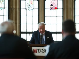 Chairman Patrick O'Connor (center) addresses the Board of Trustees in its March 11 meeting. | Allan Barnes TTN