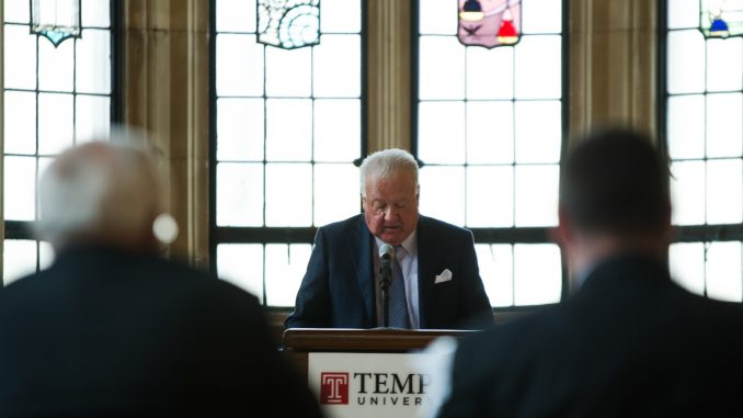 Chairman Patrick O'Connor (center) addresses the Board of Trustees in its March 11 meeting.   Allan Barnes TTN