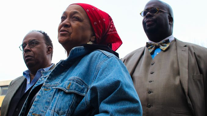 Dr. Anthony Monteiro (left), activist Pam Africa and president of Black Men at Penn Chad Lassiter at a protest held March 11 at Sullivan Hall. | Bree Hansteen TTN