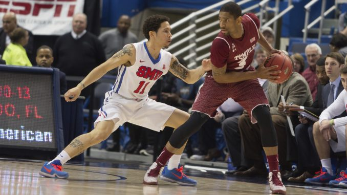 Owls senior guard Jesse Morgan protects the ball in Temple's 69-56 loss to SMU Saturday in a semifinal of the American Athletic Conference tournament.   Donald Otto TTN