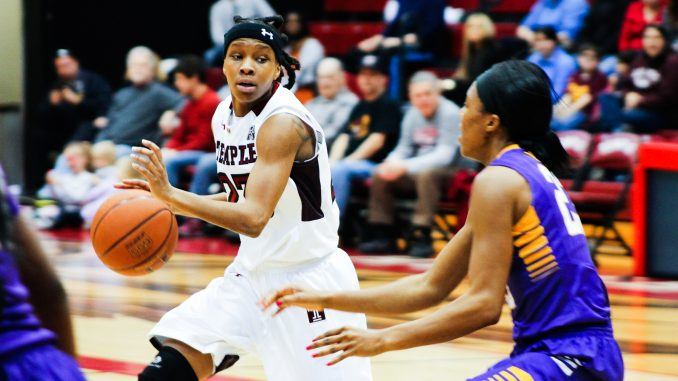 Senior guard Tyonna Williams dribbles during the Owls' 77-71 loss against East Carolina March 7. | Alex Beaufort TTN