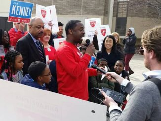 Stephen Flemming talks to press and a crowd about endorsing Jim Kenney for Mayor of Philadelphia on March 16. | COURTESY Stephen Flemming