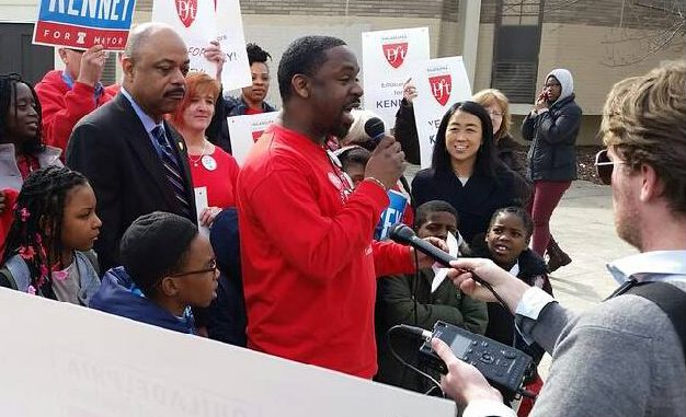 Stephen Flemming talks to press and a crowd about endorsing Jim Kenney for Mayor of Philadelphia on March 16.   COURTESY Stephen Flemming