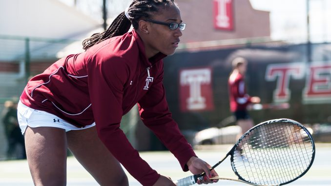 Senior Rebecca Breland waits for a serve during the Owls' 6-1 win against Fairleigh Dickinson last Saturday at the Student Pavilion. | Donald Otto TTN