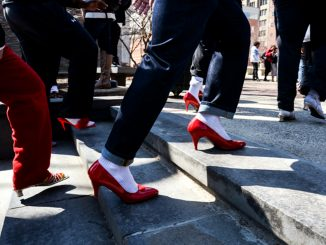 "On April 1, hundreds of male students marched to stop rape, sexual assault and gender violence. assault and gender violence. assault and gender violence. ""Walk A Mile In Her Shoes,"" an international men's march to stop rape, sexual assault and gender violence. 