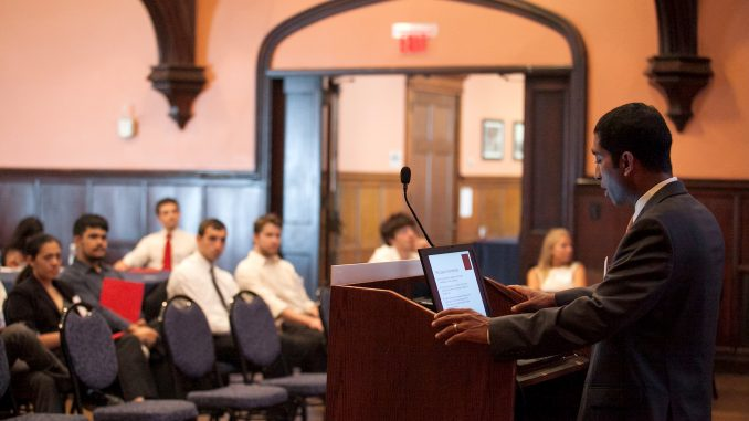 Azhar Majeed speaks before a crowd at his organization's Student Networking Conference earlier this year in Philadelphia. | COURTESY Azhar Majeed