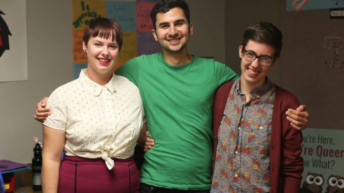 Morgen Snowadzky (left), John Valkovec, and Halley Balkovich were instrumental voices in the creation of the LGBTQIA campus resource guide that was presented at Welcome Week. | Margo Reed TTN