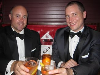 """Mike Ingram (left), and Tom McAllister, both assistant professors of English, attended the Philly Geek Awards on Aug. 15 and won the """"Streaming Media Project of the Year"""" category. 