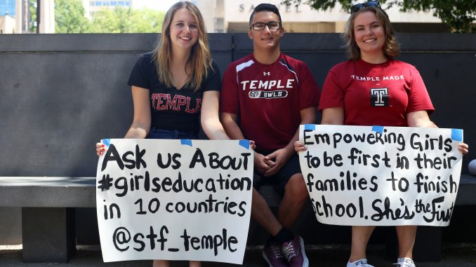 Maddi Gray, sophomore, Zac Baker, sophomore, and Rachel Paul, junior, make up the board of Temple's chapter of She's the First, a nonprofit organization that funds education for girls in low-income countries. Gray opened the chapter at Temple last spring. | Jenny Kerrigan TTN