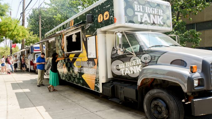 On Norris Street near 13th, several food trucks line the walkway outside of the Tyler School of Art, including Burger Tank and The Creperie. In June, City Council passed a bill that would put 50 food trucks on Montgomery Avenue and Norris and 12th streets. | Brianna Spause TTN