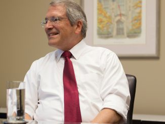 On the second floor of Sullivan Hall Aug. 18, President Theobald ­discussed his experience as the CFO of Indiana University and his life on the East Coast. | Margo Reed TTN
