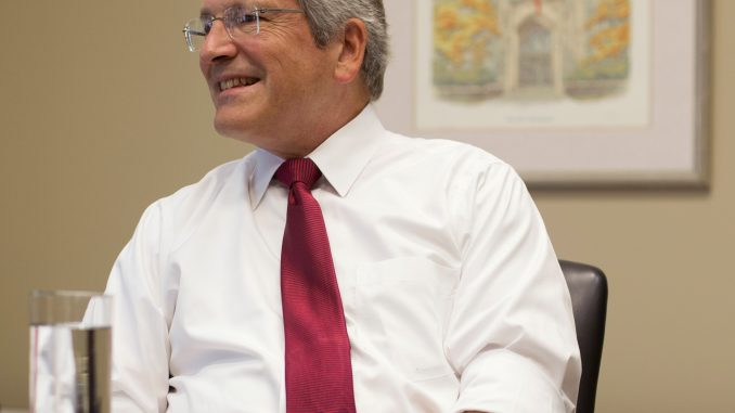 On the second floor of Sullivan Hall Aug. 18, President Theobald discussed his experience as the CFO of Indiana University and his life on the East Coast. | Margo Reed TTN