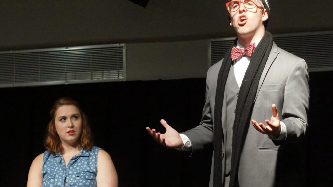 """Will Pescoe plays the """"Director"""" interviewing Megan McPaul in the Insomnia Theater's show on Sept. 19. 