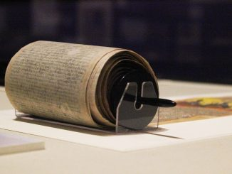 The Free Library displays a sacred Hindu text written on a 64-foot scroll. | Matt McGraw TTN