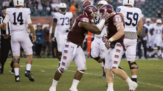 Nate D. Smith and Tyler Matakevich celebrate during the Owls 27-10 victory against Penn State Sept. 5. | Jenny Kerrigan TTN