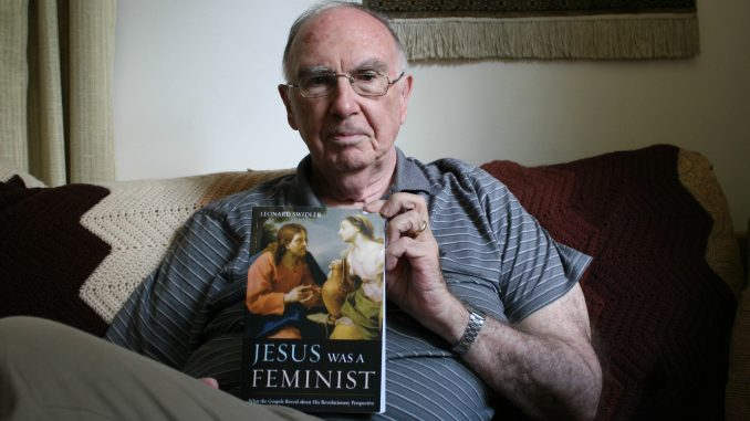 Dr. Leonard Swidler, professor of Catholic thought and interreligious dialogue, sits in his office. Swidler shared his knowledge of Philadelphia's Catholic community for the documentary. | Kathryn Stellato TTN