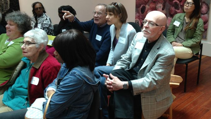 "Philadelphia leads conversation about art in the galleries during ""ARTZ at the Woodmere."" 