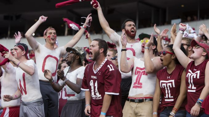 Temple fans celebrate the Owls' first win over Penn State since Oct. 18, 1941. | Jenny Kerrigan TTN