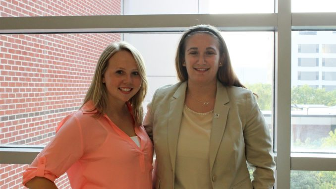 Gabrielle Salomon, (left), and Alison Georgescu held their first meeting for a Special Olympics College Program Thursday, Sept. 3. | Kathryn Stellato TTN