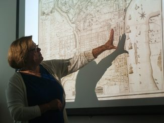 Margaret Carney, university architect, conducts an introductory lecture about urban design and planning. | Allan Barnes TTN