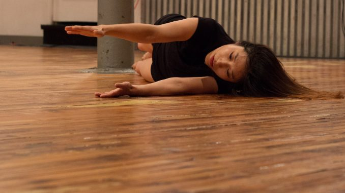 Ayako Kataoka performs during the NowHere Festival of Free Improvisation in Sound & Movement Oct. 23. | Daniel Rainville TTN