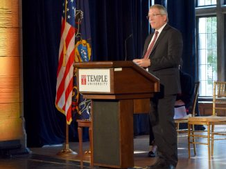 President Theobald speaks at the 2015 State of the University Address Oct. 8 in Mitten Hall. | Abbie Lee TTN