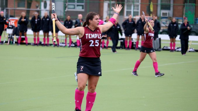 Sarah Keer stands on the field during the Owls' 3-2 double overtime loss to Liberty Oct. 4 at Geasey Field. | Evan Easterling TTN