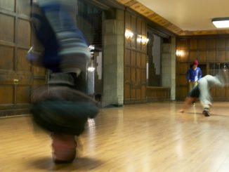 Dejan Majerle (left), headstands at Temple's Bboy team's practice in Mitten Hall. | Khanya Brann TTN