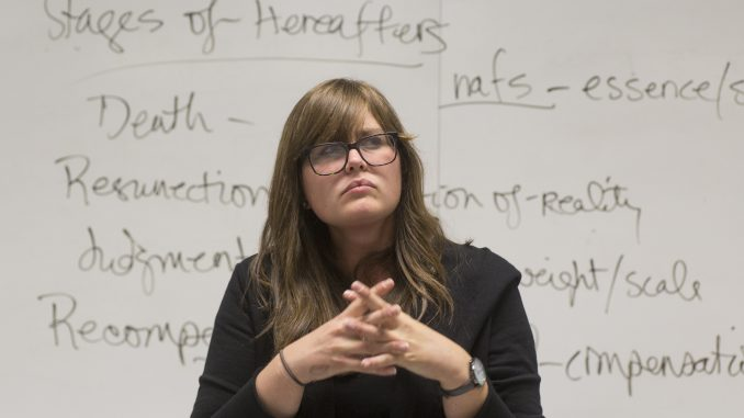 """Amy Defibaugh, a professor in the College of Liberal Arts, teaches """"Death and Dying,"""" a course focusing on cultural aspects of death and bereavement. 