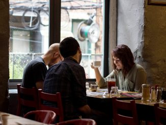 Amanda Woodward, (right), dines with friends Thomas Krauss and Sean Cassidy at Café Lift, a brunch spot in Center City that expected more customers. | Patrick Clark TTN