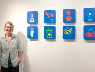 """Abby Elizabeth Schmidt's set of icons is displayed in """"Subsidized Starvation."""" 