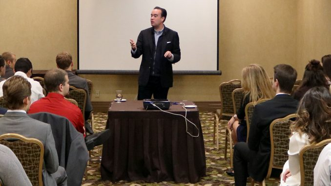 Republican candidate for Philadelphia City Council at-large Terry Tracy speaks to students in attendance at the Pennsylvania Federation of College Republicans Fall Convention Oct. 23.   Evan Easterling TTN