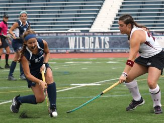 Senior forward/midfielder Alyssa Delp (right), defends during the Owls' 3-2 overtime victory Saturday against Villanova. | Evan Easterling TTN