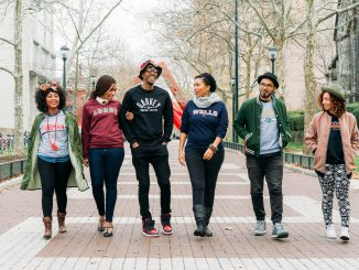 "One of the photos in the ""School of Thought"" lookbook features a wide display of the collegiate-style apparel. 